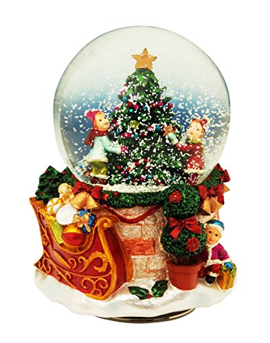 Il mondo dei carillon Mmm GmbH, 858242 Carillon Palla di Neve 80 mm con Albero di Natale
