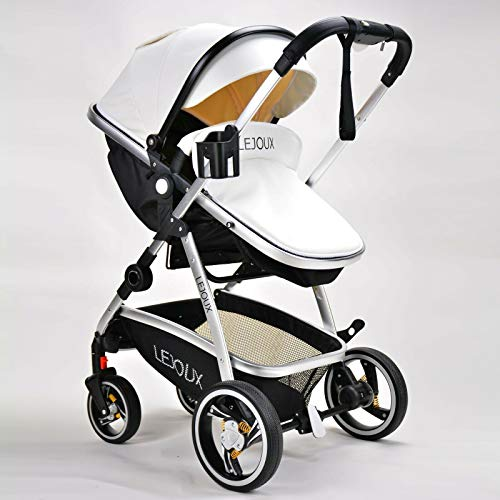 LEJOUX™ Baby Stroller Pushchair PRAM Leather Buggy Waterproof Lightweight (White)