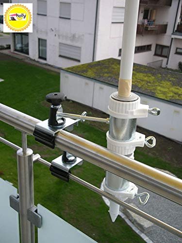 Holly baguettes de support pour parasol jusqu'à ø 40 mm-lot de 2–support pour l'extérieur ou l'intérieur de fixation : 11 cm-distance de parapluie pour fixation breveté holly d'éléments de ronde ou rectangulaire 1/35 mm avec support pivotant 360° avec kratzfreien uNIVERSALGELENKHALTERUNG gUMMISCHUTZKAPPEN de fixation pivotant à 360° espacement plots support pour bâtons de parasol jusqu'à ø 42 mm avec inscription bec douille profonde 13 cm et 11 cm de long-distance filetage-aXE-innovation fabriqué en allemagne-holly ® produits sTABIELO-holly-sunshade ® sCHIRMEN-sur à 2,5 cm de diamètre - 2 supports ou 2 te fixation utiliser pour des raisons de kabelbinder (sécurité)