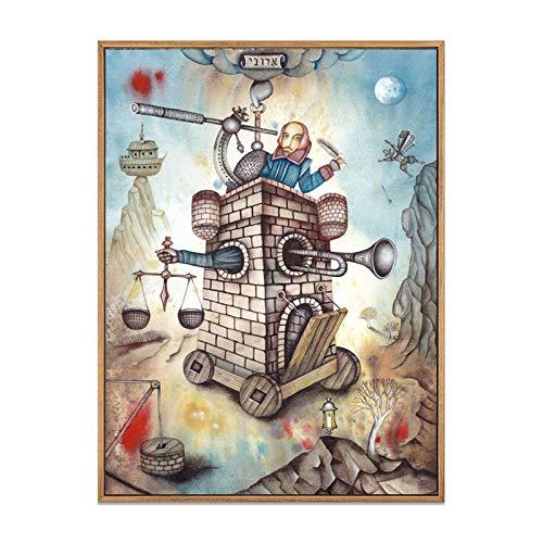 ganlanshu Cartel Abstracto de la Ciudad Retro Impresiones sueño Cuento de Hadas Estrella Arte de la Pared Dormitorio decoración del hogar,Pintura sin Marco,60X80cm