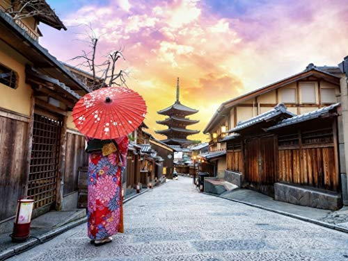 Lais Puzzle Junge Frau, die einen traditionellen japanischen Kimono mit japanischem Regenschirm trägt, an der Yasaka-Pagode und an der Sannen Zaka-Straße in Kyoto, Japan 1000 Teile