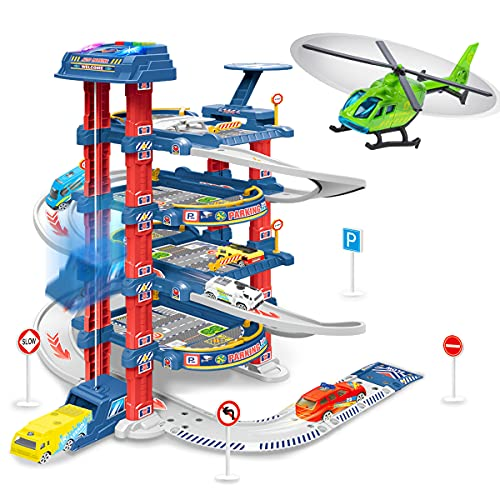 UNIH City Ultimate Garage, Race Car Track Sets with 5 Cars & 1 Helicopter, Toy Vehicle Playsets with Play Mat, Car Garage Toys Gift for Boys 3 Years & Older