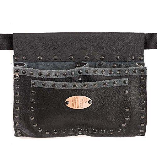 Romagne clouté - Lady en cuir véritable, noir, rivets bleui, ceinture inclus