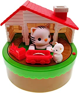 fefelike Piggy Bank for Kids,Cat and Mouse Stealing Money Bank,Coin Bank,Automatic Stealing Money with English Speaking, M...