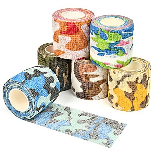 EKKONG venda cohesiva,venda cohesiva (6 rollos),venda elastica adhesiva Adecuado para protección deportiva Transpirable, no es fácil de caer vendaje de heridas, vendaje de mascotas. (Camuflaje)