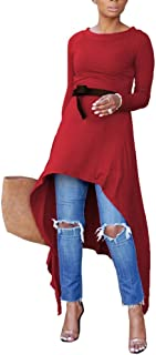 Women's High Low Tunic Tops - Casual A-Line Shirt Dress Sweatshirt with Belted