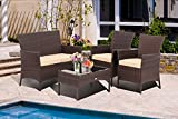 LayinSun 4 Pieces Outdoor Patio Furniture Sets, Wicker Rattan Chair Conversation Bistro Set with Cushions and Table for Backyard Garden Balcony Porch Poolside
