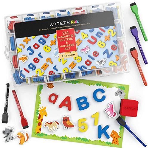 ARTEZA Magnetbuchstaben und Zahlen, 214 Buchstaben Magnete aus Schaumstoff, Zahlen und Symbole mit trocken abwischbarer Magnettafel, Marker und Radiergummi für Kinder und Kleinkinder