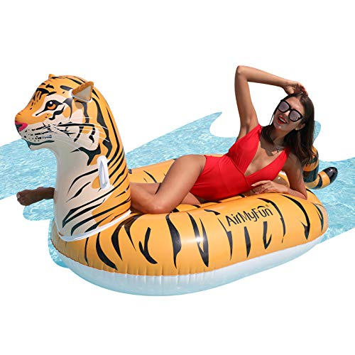 AirMyFun Inflatable Giant Tiger Float, Lounge Rafts Foam Pool Float with Durable Handles, Summer Pool Party Outdoor&Indoor Decorations for Adults Kids