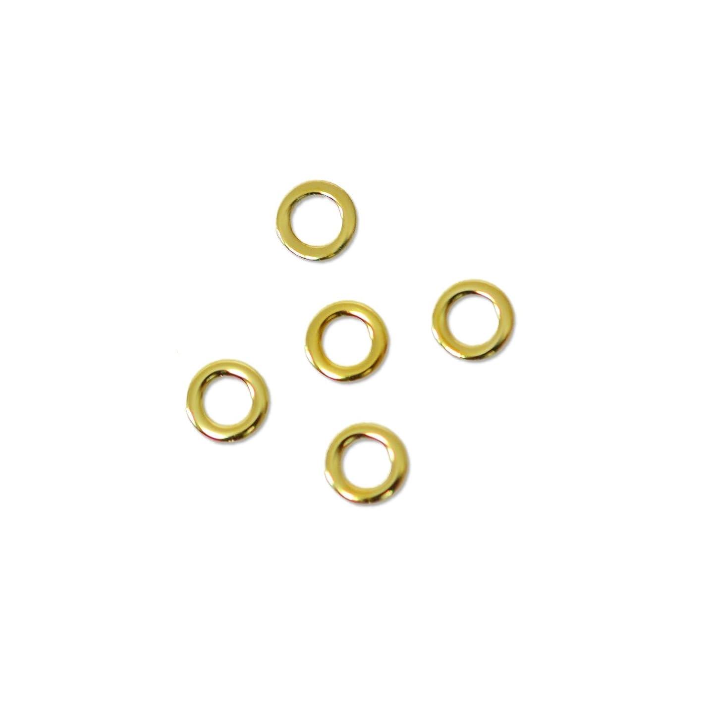 脊椎始める外部薄型メタルパーツ10002  ラウンド M 丸形 外寸約3mm/内寸約2mm ゴールド 20個入り 片面仕上げ