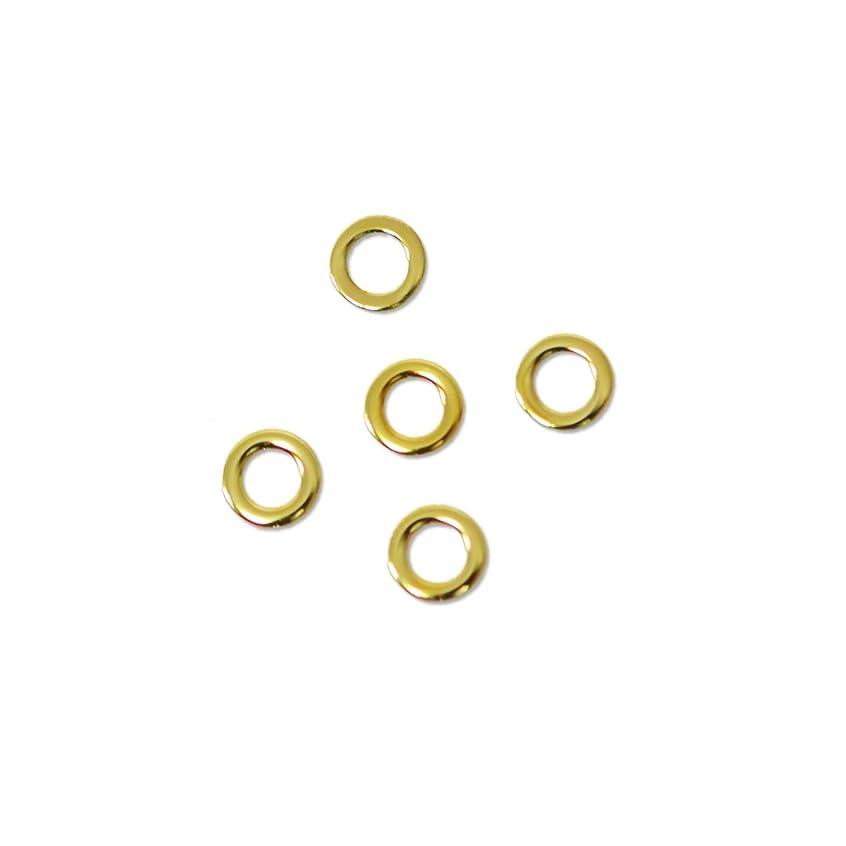 周術期シャッフルシャンプー薄型メタルパーツ10052 ラウンドS 2mm(内寸1mm) ゴールド 50個入り