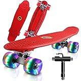 Monopatín Completo Mini Cruiser Skateboard 22' Retro Skate Board para Niños Adolescentes Adultos, Ruedas con Luz LED y Herramienta en T de Patinaje Todo en Uno (Rojo)