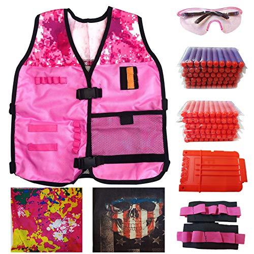 Coriver Pink Kids Tactical Vest, verstellbares Tactical Vest Jacket Kit mit 2 Masken, 2 Handgelenkbändern, 120 Stück Soft Bullets, 1 Reload Clips, 1 Schutzbrille für Nerf Guns N-Strike Elite Series