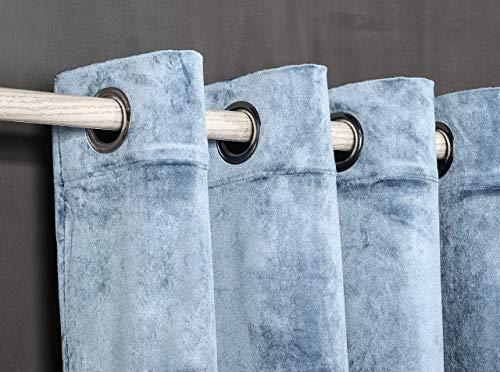 PimpamTex Cortina Terciopelo Opaca térmica Aislante para salón Dormitorio y habitación, con 8 Ojales, 1 Unidad 140 x 260 cm, Modelo Terciopelo Color índigo