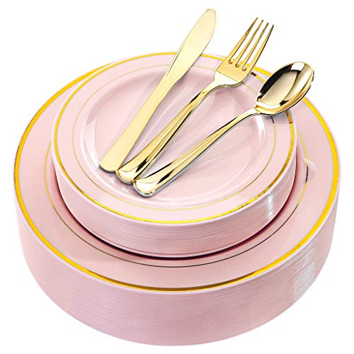 BUCLA 30Guest Pink Plastic Plates With Gold Rim - Disposable Gold Plastic Silverware -Pink And Gold Plastic Dinnerware For Wedding&Parties,Special for Bridal Shower, Mother's Day