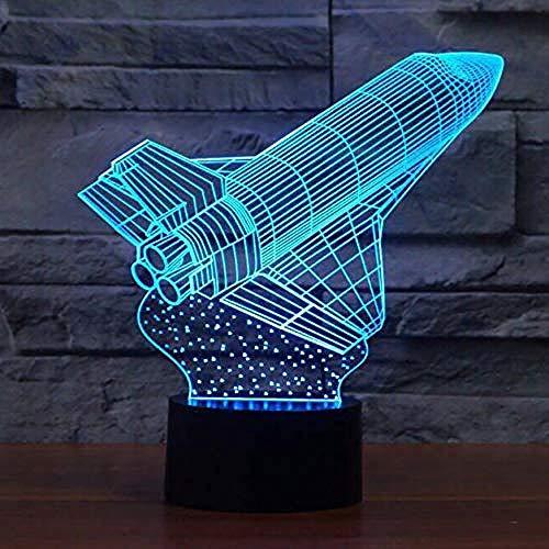 Modelo de cohete 3D LED luz nocturna 7 tipos de cambio de color nave espacial lámpara de mesa decoración del hogar iluminación para dormir regalo de iluminación para niños