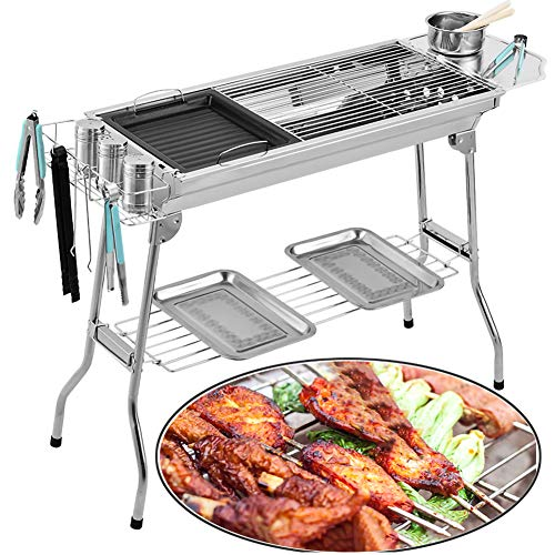 JKLJKL Beweglicher Faltbare Edelstahl Grill für Outdoor-Holzkohlegrill Grill Barbecue-Tools Set,Silber