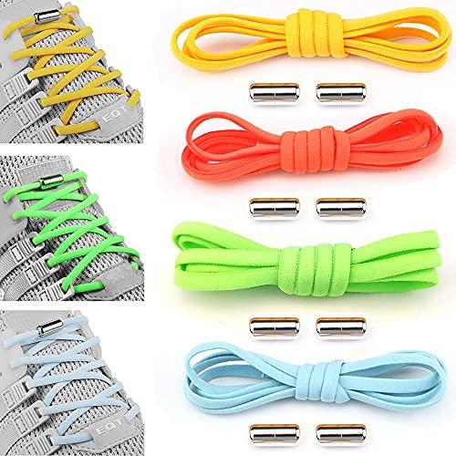 4 paia Lacci delle Scarpe, Lacci Elastici, Elastici Lacci Scarpe, No Tie Lacci, Con Fibbia in Metallo, Adatto a Bambini, Anziani, Disabili, Scarpe Sportive, Scarpe Casual (4 Colori) (B)