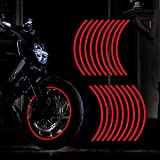 TOMALL 18pcs Lengthen 16'-19' Reflective Wheel Rim Stripe Decal for Motorcycle Wheels Car Cycling Bike Bicycle Night Reflective Safety Decoration Stripe Universal Reflective Stickers for Car (Red)