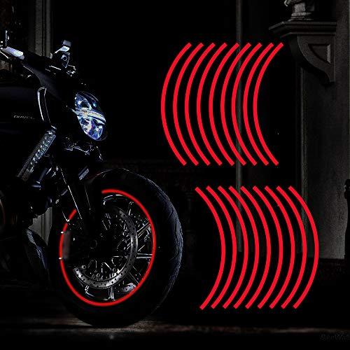 TOMALL 18 pegatinas reflectantes para llantas de motocicleta, de 40,6 a 48,2 cm, para coche, bicicleta, bicicleta, noche, reflectante, decoración de seguridad, para coche, color rojo
