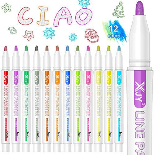 Outline Marker, BOIROS Penne Magiche Colorate per Bambini da 12 Colori Glitterati a Doppia Linea Bordo Automatico, Pennarelli di Contorno Evidenziatori, Metallici Brillantinati Argento al Centro