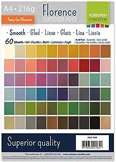 Vaessen Creative Florence Papier Cartonné, Couleurs Vives, 216g, A4, 60 Feuilles, Surface Lisse, pour Peindre, Scrapbookin...