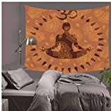 Simmia Home Chakra Tapisserie Wandbehang Polyester Mandala Wandtuch Tapisserien Psychedelic Yoga Hamsa Hand Dekorative Tapisserie, 75x87 cm