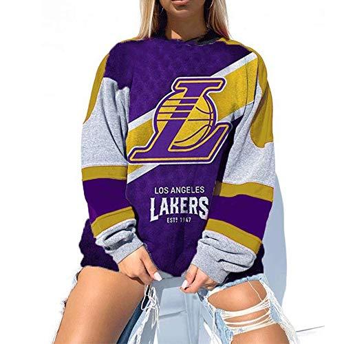 M3M Herren Damen Los Angeles Lakers Sweatshirt, NBA Basketball Fleece Loose Langarm Print Pullover Sweater Sport Casual Tops T-Shirt,Purple Gray,XL