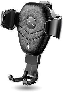 شاحن سيارة لاسلكي، حامل هاتف السيارة سريع التركيب التلقائي 360 درجة دوران متوافق مع هاتف Galaxy S10 / Note 9 / S9 / S8 / N...
