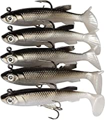 SOFT FISHING LURE: Soft bodies with internal lead weight , made of high quality PVC material, environmentally friendly and anti-corrossion. MORE ATTRACTIVE: Lifelike trout appearance, 3D eyes and T Tail for ideal swimming action to attractive the tar...