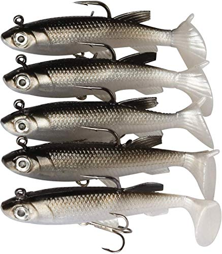 Goture Lead Jigs Soft Fishing Lures with Hook Sinking Swimbaits for Saltwater and Freshwater 5 Colors Available (Pack of 5)
