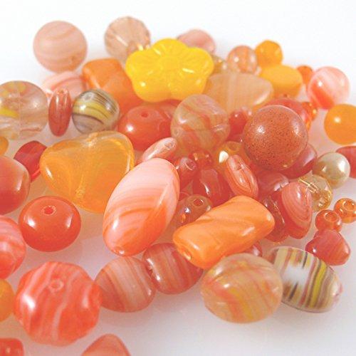 Bastelset aus 60 Glasperlen orange Perlenmix 4-16mm Glas Perlen Beads -851