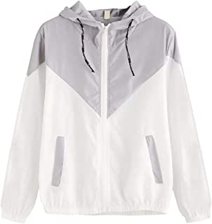Women's Hoodie Jacket Long Sleeve Loose Zip Hoodie Jacket Windbreaker Lightweight Tops All-Match Basic Comfortable Outwear...