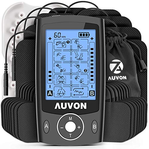 AUVON Dual Channel TENS Unit Muscle Stimulator (Family Pack), 20 Modes Rechargeable TENS Machine with Huge Pack of 24 Pcs Reusable TENS Unit Electrode Pads (2'x2' 16pcs, 2'x4' 8pcs) Black