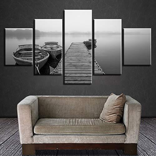 Zaosan HD Schwarz-Weiß-Poster Wanddekoration 5 Brücken und Schiffe psychedelische Landschaft Leinwand Gemälde Bilder