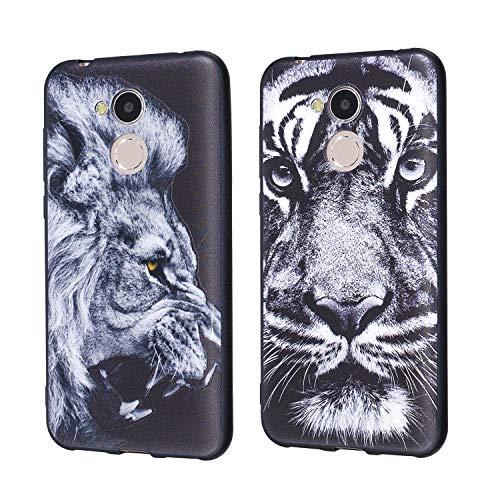 Funluna 2 Stück Huawei Honor 6A Hülle Silikon, Ultra Dünn Buttonschutz Schutzhülle Tasche im Schwarz Silikon Rubber Handyhülle Rückschale mit Bumper Hülle für Huawei Honor 6A - Löwe und Tiger