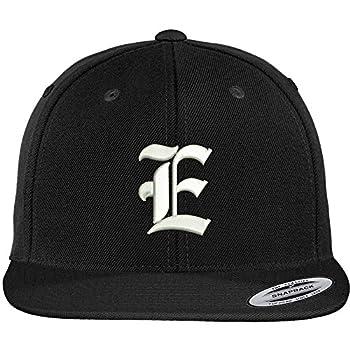 Trendy Apparel Shop Old English E Embroidered Flat Bill Snapback Cap - Black