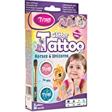 Tytoo Kit de Tatuaje de Purpurina para Chicas con 15 Plantillas, Caballos y Unicornios, Uso Seguro, duración de 8-18 días
