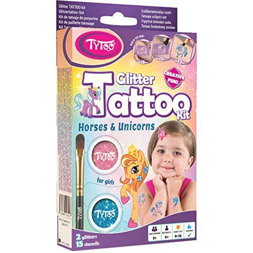 Tytoo Glitzertattoo Set für Mädchen mit 15 Einhorn und Pferd Schablonen- hypoallergen und hält bis zu 18 Tage