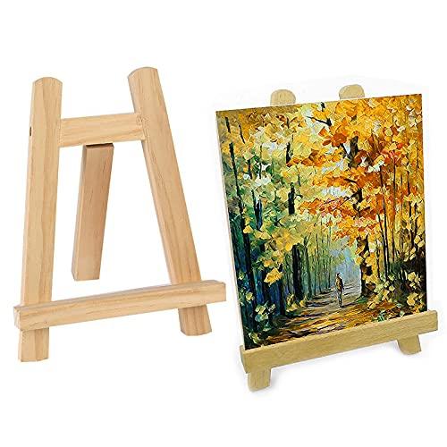 otutun 2 Pièces Chevalet de Peintre,Support de Calendrier de TablePetit Chevalet de Table en bois de Hêtre Bois avec Cadre en A et Cadre Photo en Forme de Triangle 15 x 20 cm