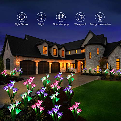 Outdoor Solar Lights, KOOPER 4 Pack Solar Garden Lights with 16 Bigger Lily Flowers, Waterproof 7 Color Changing Outdoor Lights - Bigger Solar Panel for Garden Patio Yard Pathway Decoration…
