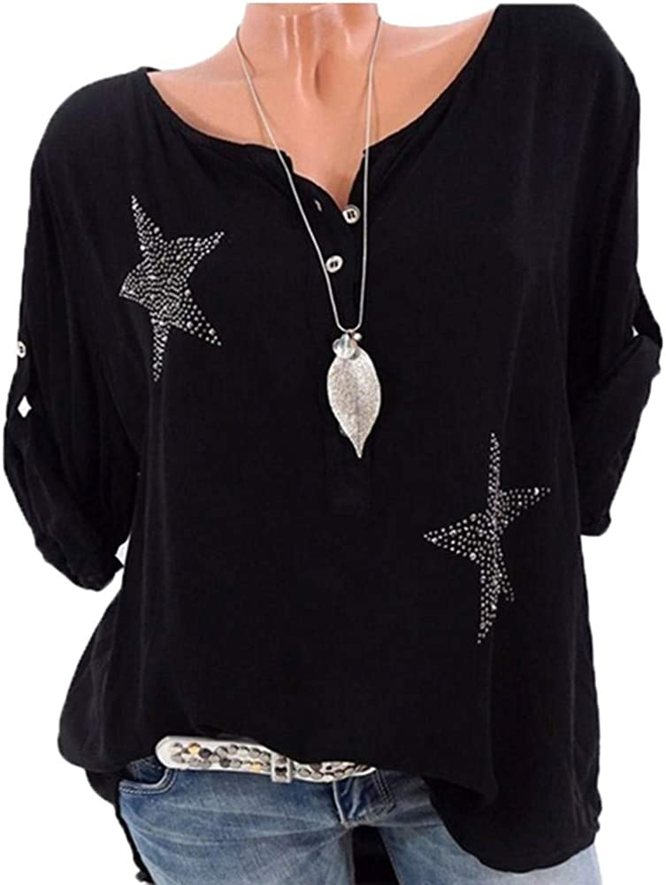 Plus Size Star Sequins Button V-Neck Roll-up 3//4 Sleeve Casual Baggy Tee Shirts Blouses Leyben Womens Tunic Tops