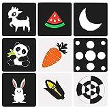 KATOOM 96 Tarjetas de Dibujo en Blanco y Negro, 48 Tarjetas de Contraste en Contraste para estimulación, Juguete Educativo para Padres e Hijos, Conejo/Perro/Mariposa/Flores/Figuras geométricas