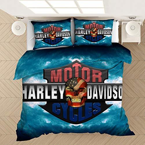 YMYGYR 3D-Druck Harley Bettwäsche mit Musterdruck, Bettbezug und Kissenbezug, weiche und Bequeme Druckbettwäsche für alle Arten von Menschen-C_228 x 228 cm (3 Stück)