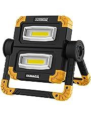 RUNACC Projecteur LED Rechargeable Projecteur Chantier 20W 1500LM Lampe de Travail Lanterne Portable avec Rotation à 360°