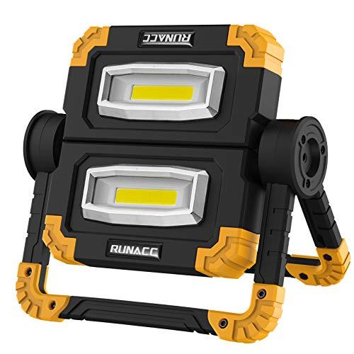 RUNACC Faltbares LED Arbeitsleuchte Baustrahler Arbeitslicht Arbeitsscheinwerfer Scheinwerfer Wiederaufladbares Tragbares USB Wiederaufladbares Akku Flutlicht Ständer-Arbeitslicht mit 360 ° Drehung