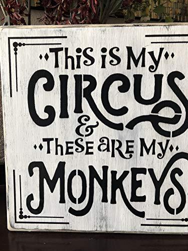 Ced454sy This is my circus, and this are my monkeys letreros de patio, carteles de madera, camping, tiendas de campaña, carteles de caravana, carteles infantiles, decoración de casa, letreros de pared,