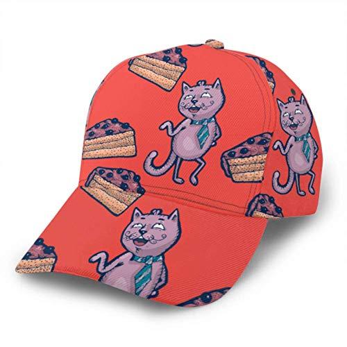 WENP Baseball Cap Pattern Cartoon Katzen Stück Kuchen Dessert verstellbare Unisex Baseball Cap Trucker Hut passt Männer Frauen Hut