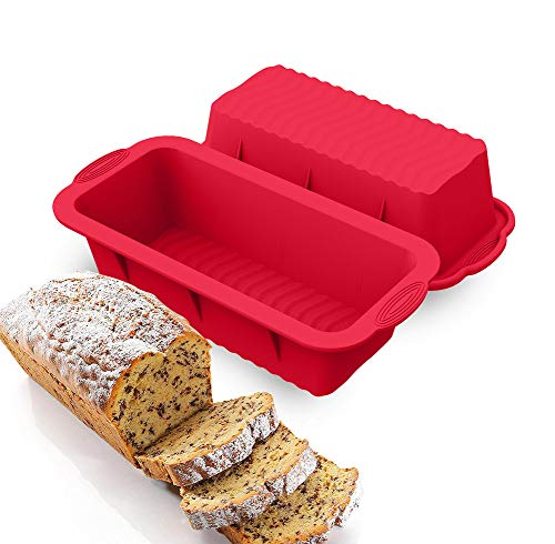 HOMEK Silikon Backform, 2 Stücke Kuchen Silikonbackform Kuchenform Antihaftende Rechteck Kastenform Silikon Brotbackform für Kuchen und Brot, Rot 25 x 12 x 7,5cm