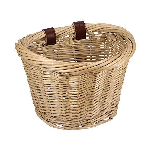 Porcyco Fahrradkorb, Weidenradkörbe, handgefertigter Fahrradkorb vorne, brauner Vintage Weidenkorb, Fahrradkorb für Rucksack, Lebensmittel, Bücher